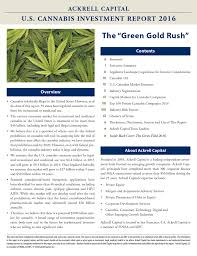 "USA: Report (2/24/2016) ""U.S. Cannabis Investment Report 2016"" Authored By Ackrell Capital"