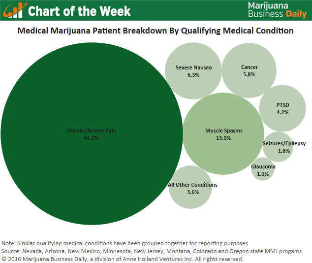 "USA: MJ Biz Create Infographic Of ""Most Common Medical Conditions of Registered MMJ Patients"""