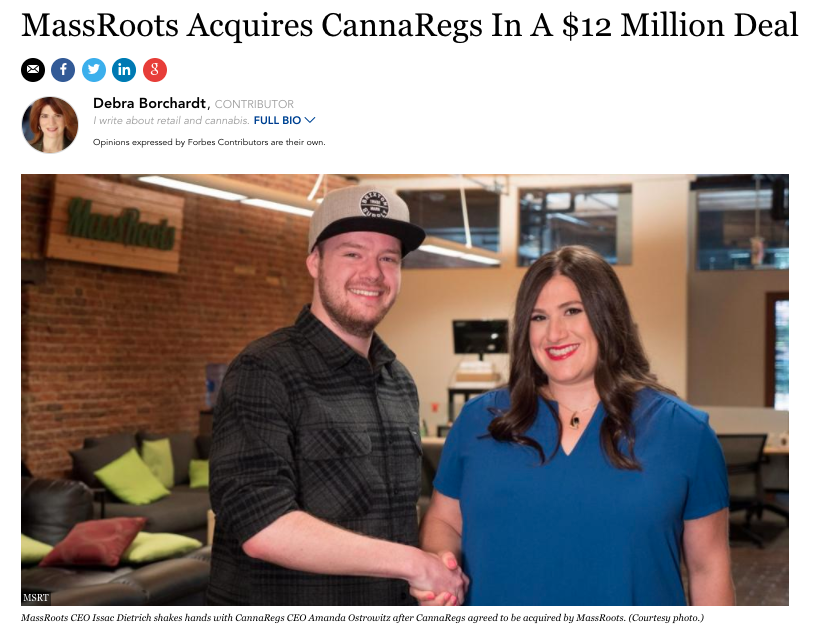 Hot off The Press: MassRoots Buys Canna Regs For $US12Million