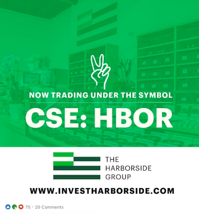 D'Angelo's Linked In Account Announces Harborside Trading In Canada Under Symbol #HBOR