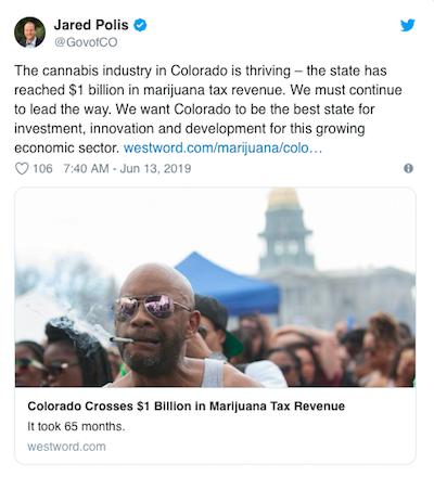 "Colorado: Gov Polis releases press releases saying state ""has surpassed $1 billion in marijuana revenue to date since adult-use marijuana sales began in 2014"""
