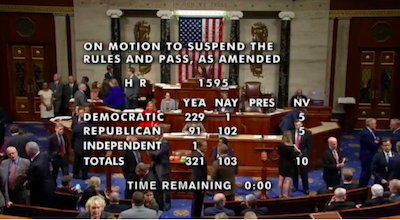 SAFE Banking Act passes the US House of Representatives by  vote of 321 to 103!