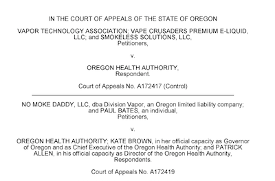Oregon appeals court halts governor's vaping ban on flavored tobacco products