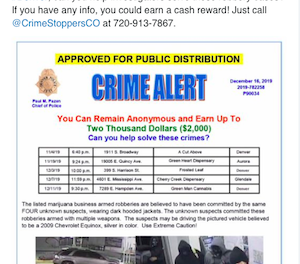 Denver Police Concerned About Spate Of Armed Robberies On Cannabis Dispensaries