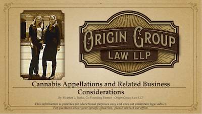 Heather Burke principal at Origin Law presentation on cannabis appellations in California