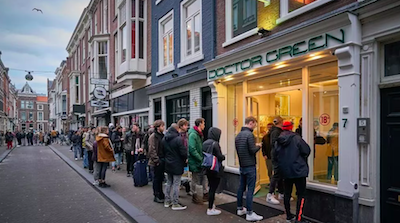 Dutch Govt Order Cafes & Restaurants To Close..  Queues Formed Quickly At Cannabis Cafes