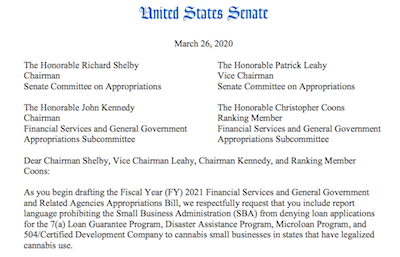 USA: Senate Coalition Urges SBA (Small Business Assoc) to Support Small Cannabis Businesses