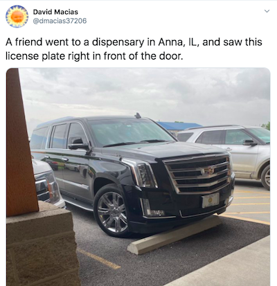 Busted !! Tennessee State Senate Official Vehicle License Plate Spotted Outside Illinois Cannabis Dispensary