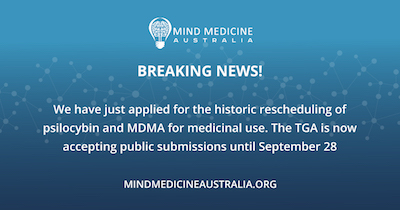 Mind Medicine Australia submits Australia's first applications to  reschedule psilocybin and MDMA
