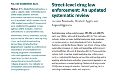 """Paper – Australian Institute Of Criminology """" TwitterLinkedInEmail Street-level drug law enforcement: an updated systematic review"""""""