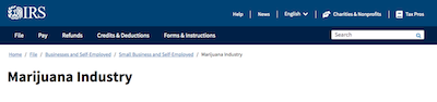 IRS Cannabis Industry Webpage