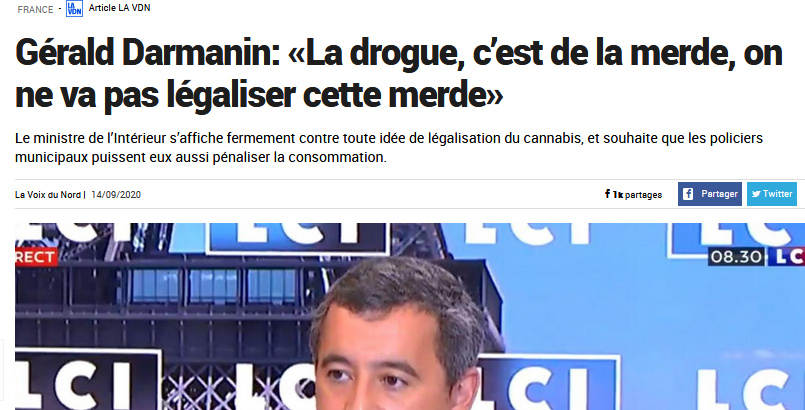 "Merde !  ""Drugs are sh*t"" Says Interior Minister + 80 French MP's Write Open Letter Saying No To Cannabis Regulation"