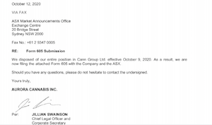 "Australia – Document: Aurora's ASX Regulatory Filing For Sale Of ""entire position In Cann Group Ltd."""