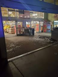 Washington State: Driver Crashes Through Front Doors Of Fred Meyer On LSD !