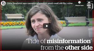 NZ – Video: Chlöe Swarbrick  reacts to cannabis referendum result