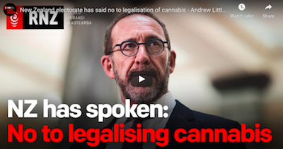 New Zealand electorate has said no to legalisation of cannabis – Andrew Little | RNZ