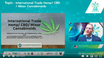 "CISW 2020 Day 2 – Michael Patterson ""International Trade Hemp/ CBD/ Minor Cannabinoids"""