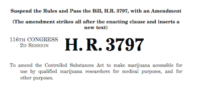"USA: House Will Now Vote On ""Medical Marijuana Research Act"""