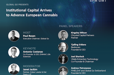 Webinar: Monday 14 December 2020 –  Institutional Capital Arrives to Advance European Cannabis