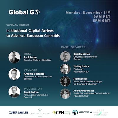 Webinar: Monday 14 December 2020 –  Institutional Capital Arrives to Advance European Cannabis