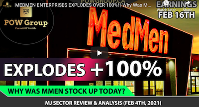 February 4 2021: MEDMEN ENTERPRISES EXPLODES OVER 100%!