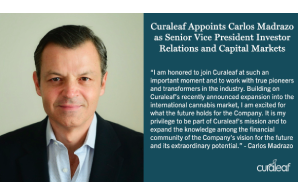 Curaleaf Holdings, Inc. Carlos Madrazo has been appointed to the role of Senior Vice President of Investor Relations