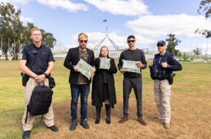 URGENT 420 DELIVERY: Cannabis Activists Deliver Half A Million Dollars To Parliament House In Canberra  To Demonstrate Wasted Money