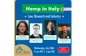 CLE Webinar Hemp in Italy: Law,Research, and Industry Wednesday,July 28th,11 a.m. PDT