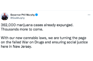 NJ- Gov Murphy Tweets 362,000 Cases Expunged More To Come