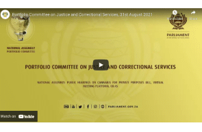 August 31 2021: South Africa: National Assembly -  Public Hearings on Cannabis for Private Purposes Bill, Virtual Meeting Platform, 31st August 2021, Watch At  08:45
