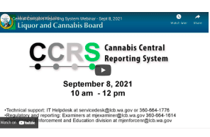 Watch: September 8 2021 - Washington State: Central Cannabis Reporting System Webinar